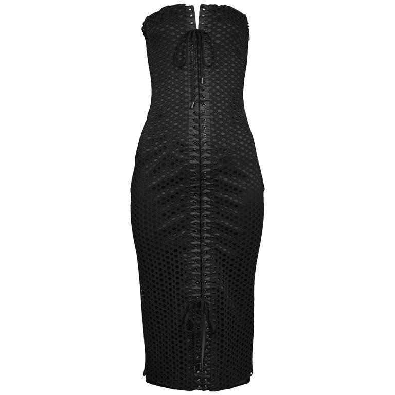 Dolce & Gabbana Black Perforated Mesh Dress