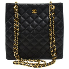 Vintage Chanel Black Quilted Lambskin Leather Tall Chain Shoulder Bag