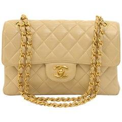 Vintage Chanel Beige Quilted Leather Double Sided Flap Shoulder Bag