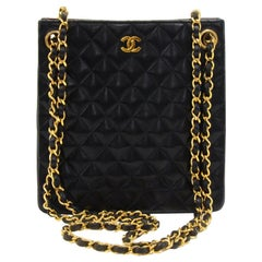 Vintage Chanel Black Quilted Lambskin Leather Tall Mini Chain Shoulder Bag