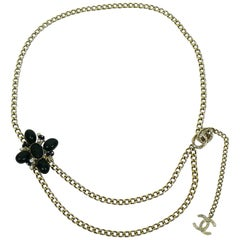 Chanel 2005 Clover and CC Chain Link Belt Necklace