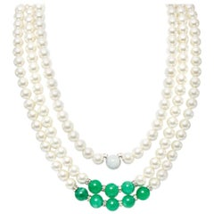 Feri jade quartzite and shell pearl necklace
