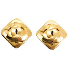 Chanel 90s CC Logo Clip On Earrings