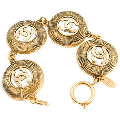 Chanel CC Vintage Sunburst Charm Bracelet, 1980s