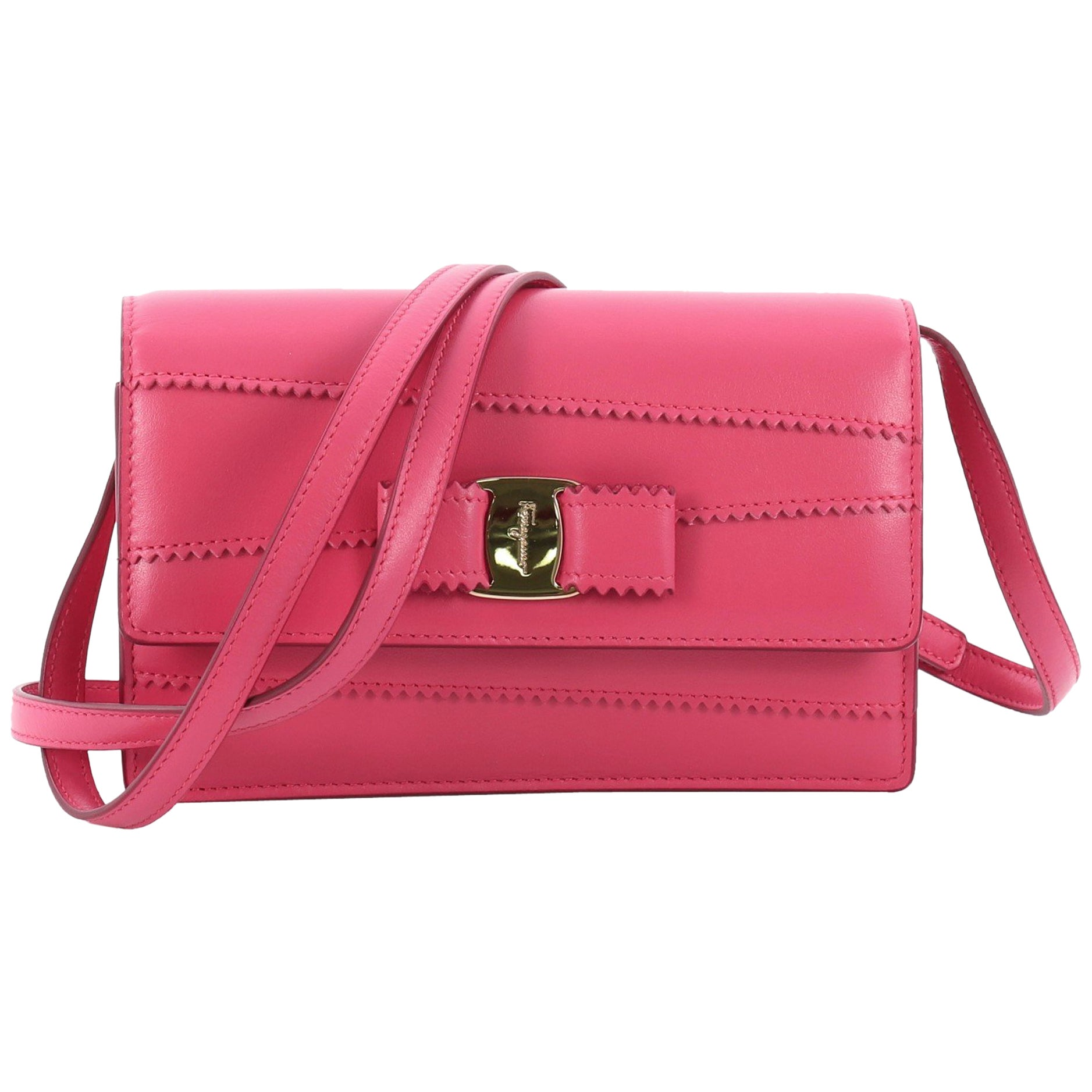 576d9b176d7e Salvatore Ferragamo Ginny Crossbody Bag Stitched Leather Mini at 1stdibs