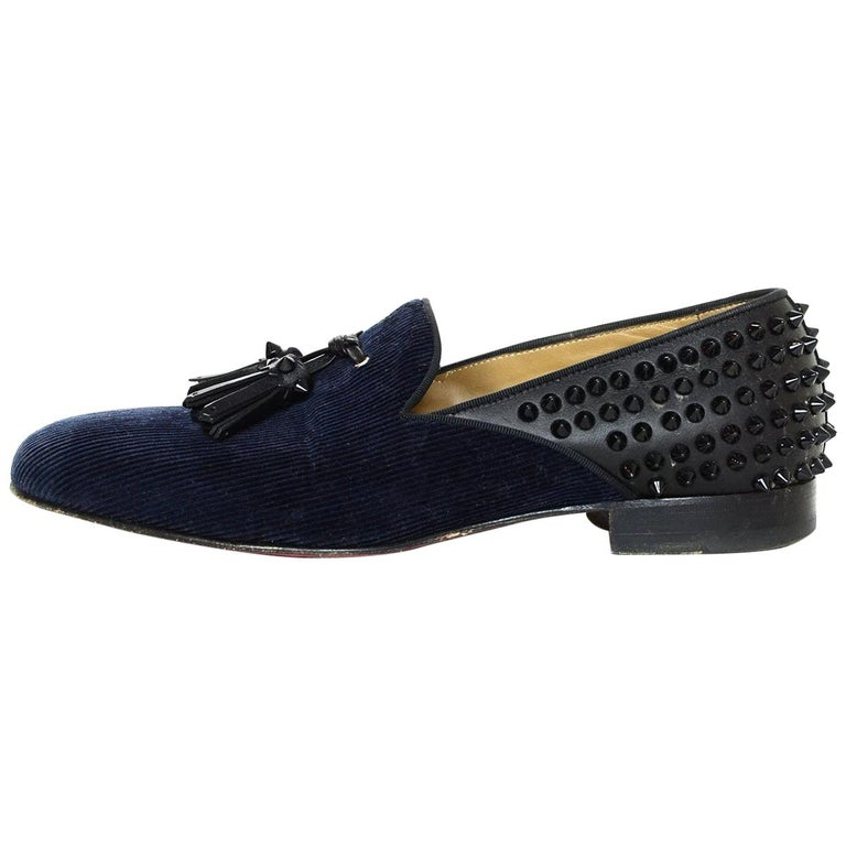 finest selection 0c7b7 5927b Christian Louboutin Men's Navy /Black Spike Loafers sz 41