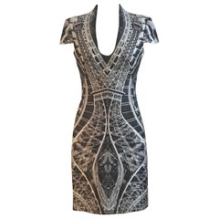 Alexander McQueen 2009 Eiffel Tower Print Dress Grey Silk
