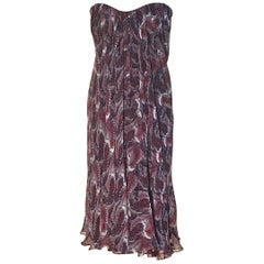 Alexander McQueen Purple Fish Print Silk Chiffon Draped Dress Bustier Top, 2008