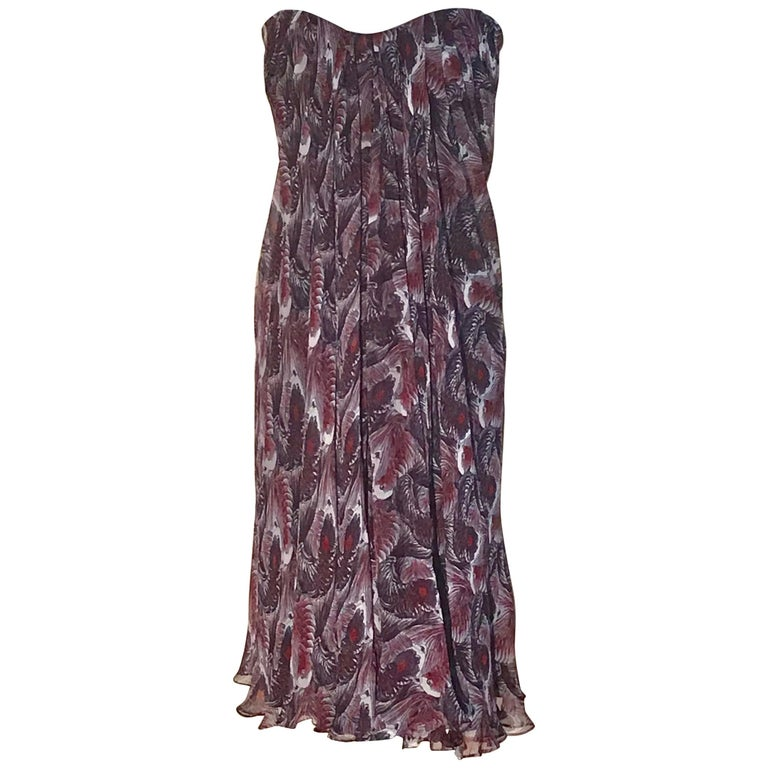 Alexander McQueen Purple Fish Print Silk Chiffon Draped Dress Bustier Top, 2008