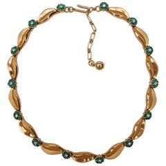 Trifari Vintage Gold Plated Green and Clear Rhinestone Flower Necklace