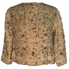 1960s Vintage Tan and Gold Beaded Cropped Jacket