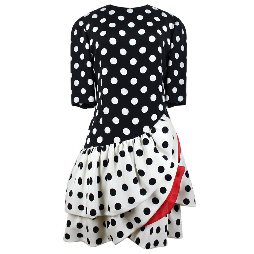 AKRIS Flamenco-Inspired Black / Creme-White Polka Dot Flounced Silk Dress, 1980s