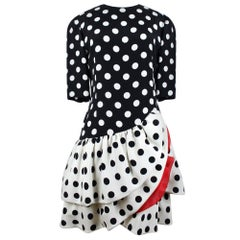AKRIS Flamenco-Inspired Black / Creme-White Polka Dot Flounced Silk Dress, 1980s