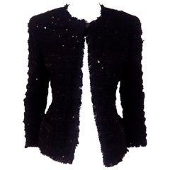 Chanel Black Tweed Sequin Jacket