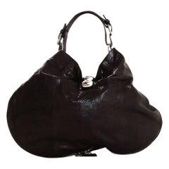 Marni Brown Lizard Zip Around Hobo Bag with Silvertone Hardware