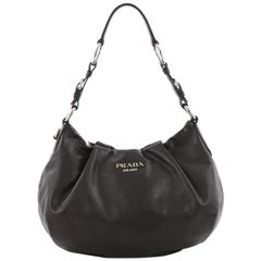 Prada Pleated Hobo Soft Calfskin Large