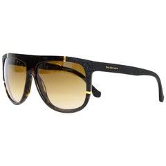 Balenciaga Gradient Brown Dark Tortoise Frame Sunglasses With Goldtone Detail