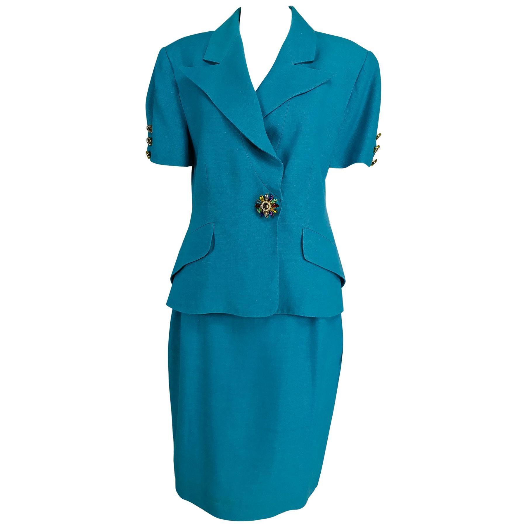 Christian Lacroix Turquoise Linen Jewel Button Suit 1990s 12