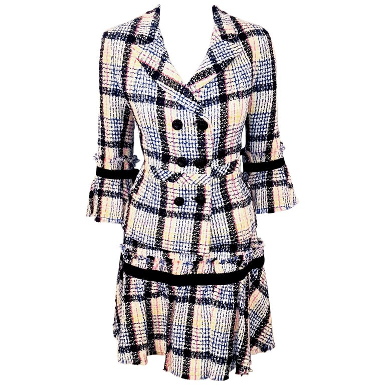 Chanel White & Multicolor Tweed Skirt Suit Defines Chanel's Fashion House For Sale