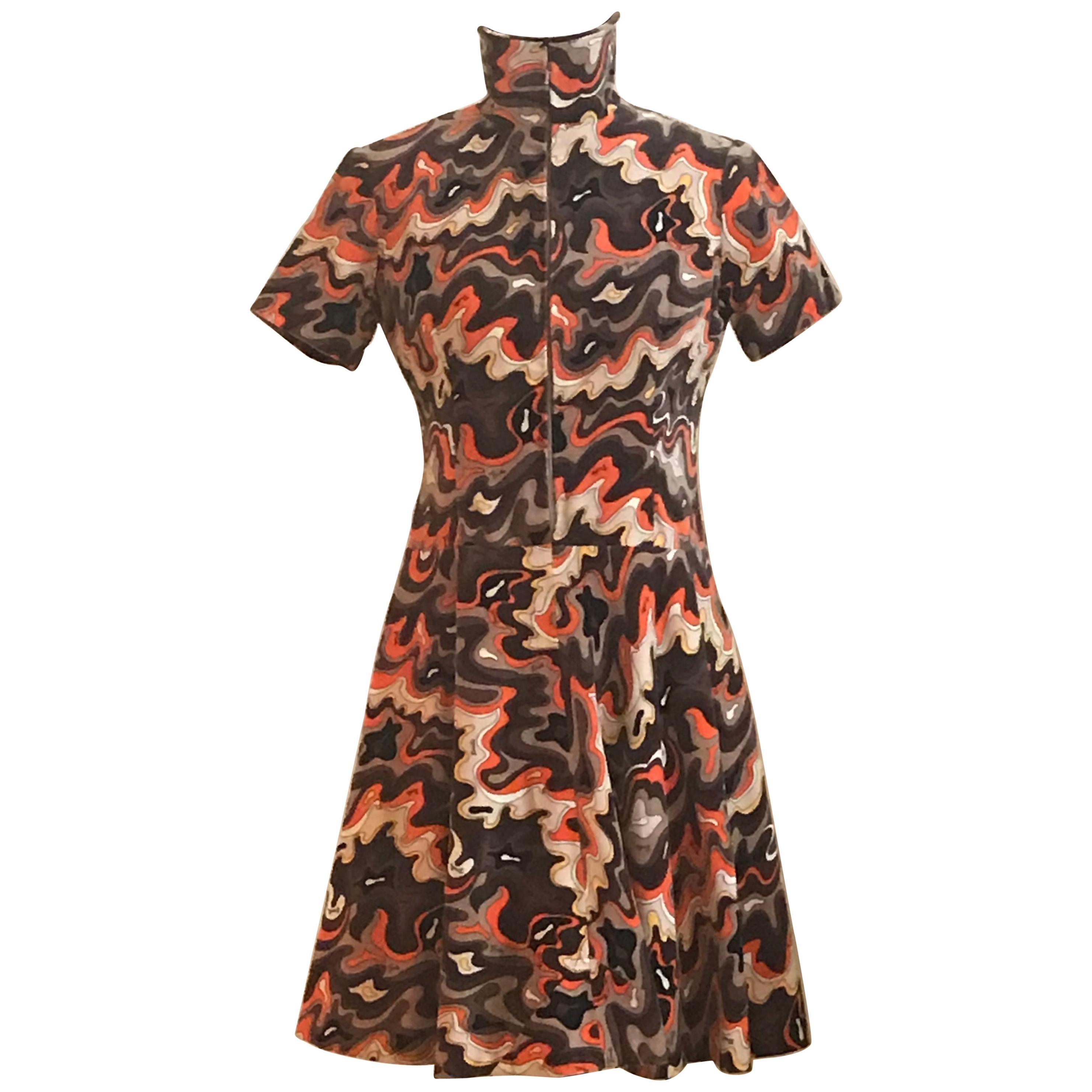 Emilio Pucci 1960s Orange and Brown Squiggle Print Velvet Zip Front Dress