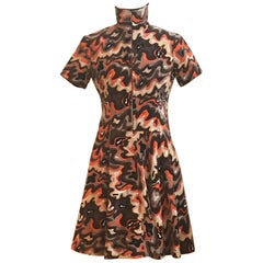 Emilio Pucci 1960s Orange and Brown Squiggle Print Velvet Zip Front Dress