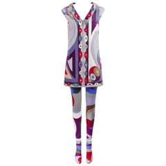 EMILIO PUCCI c.1967 2 Pc Bubble Op Art Signature Velvet Tunic Dress Tights Set