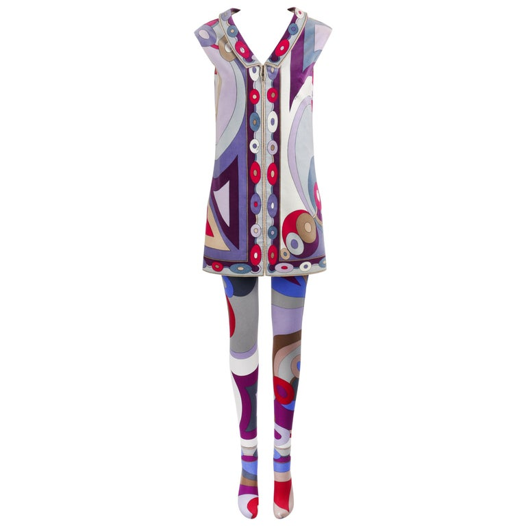 EMILIO PUCCI c.1967 2 Pc Bubble Op Art Signature Velvet Tunic Dress Tights Set For Sale