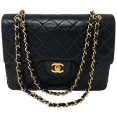 Chanel Black Vintage Square Classic Double Flap Medium Bag