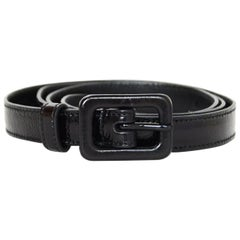 Saint Laurent Black Glazed Crinkled Leather Skinny Belt sz 75cm/30""
