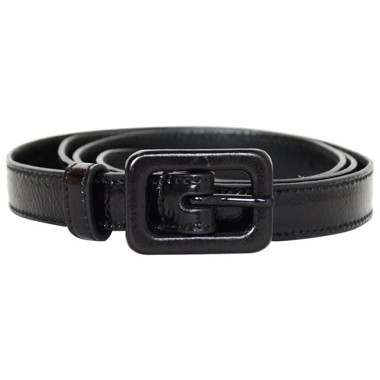 "Saint Laurent Black Glazed Crinkled Leather Skinny Belt sz 75cm/30"""