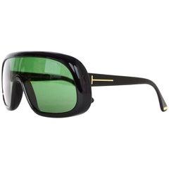 Tom Ford Black Sven Shield Green Tint Moto Unisex Sunglasses