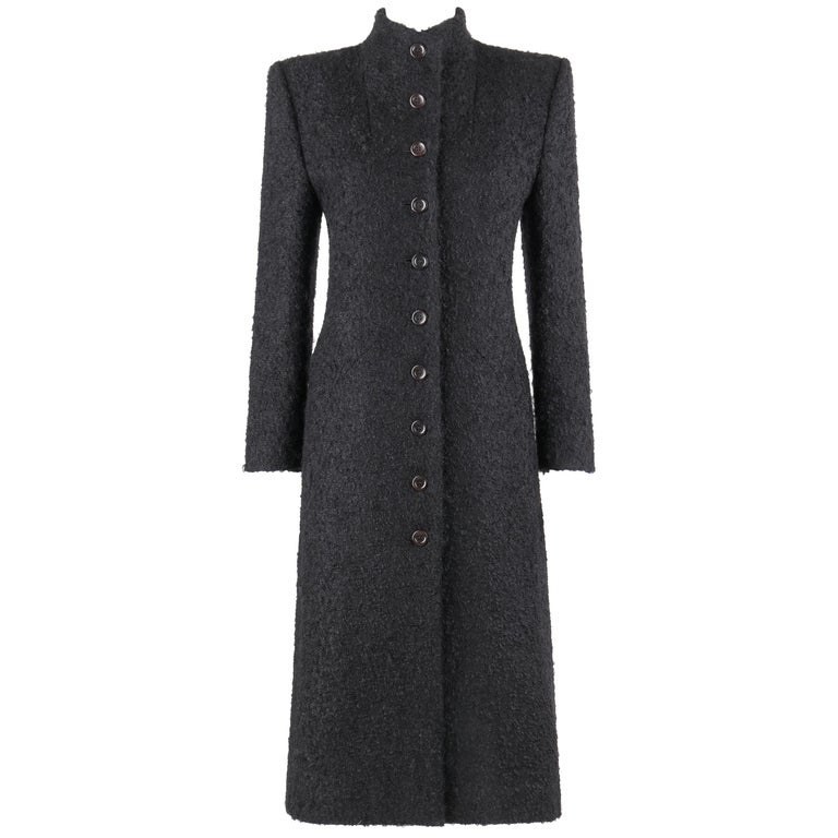 GIVENCHY Couture A/W 1998 ALEXANDER McQUEEN Mohair Exaggerated Shoulder Overcoat For Sale