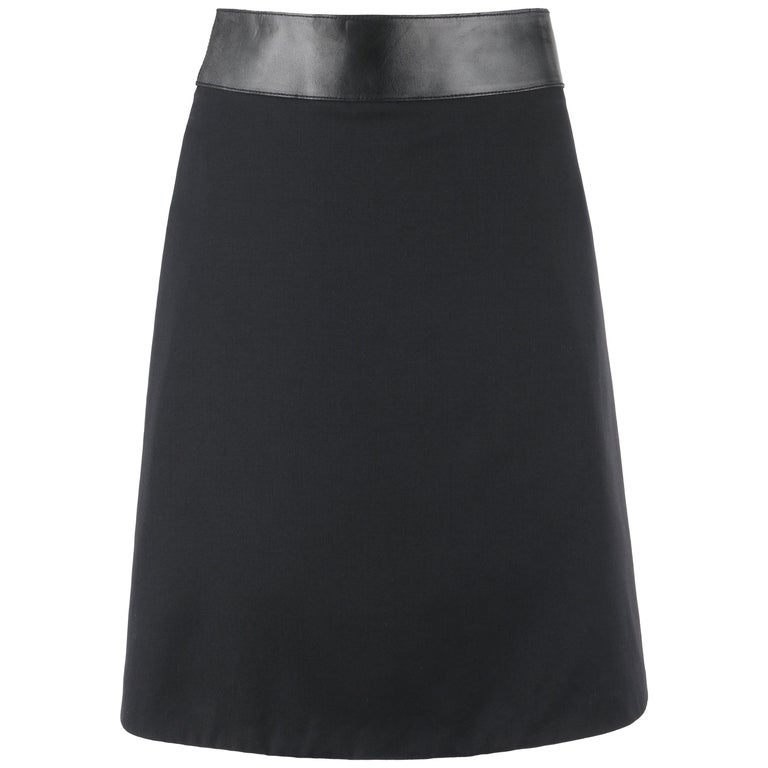 GUCCI Pre-Fall 2014 Black Wool Gabardine Leather Waistband Classic A-Line Skirt For Sale