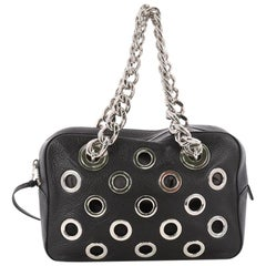 Prada Grommet Chain Shoulder Bag Vitello Daino Medium