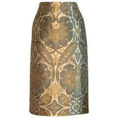 Alexander McQueen 2006 Cream Green and Yellow Jacquard Pencil Skirt