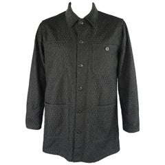 TS (S) L Black Wool Blend Woven Textured Corduroy Collar Jacket