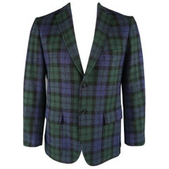 GITMAN BROS 42 Navy & Green Blackwatch Plaid Wool Sport Coat