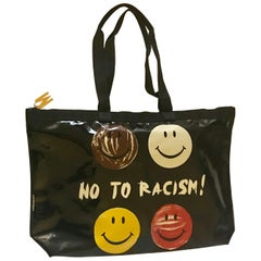 Moschino Vintage Redwall No To Racism Smiley Face Black Patent Tote Bag