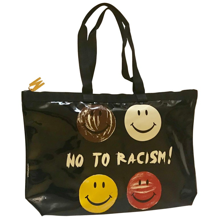 c6e9c58f07 Moschino Vintage Redwall No To Racism Smiley Face Black Patent Tote Bag For  Sale