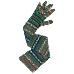 Patrick Kelly 80s Knit Geometric Design Long Gloves Grey White Green Red Yellow