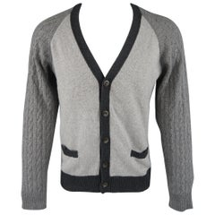 OFFICINE GENERALE Size M Grey Knitted Wool / Cashmere Color Block Cardigan