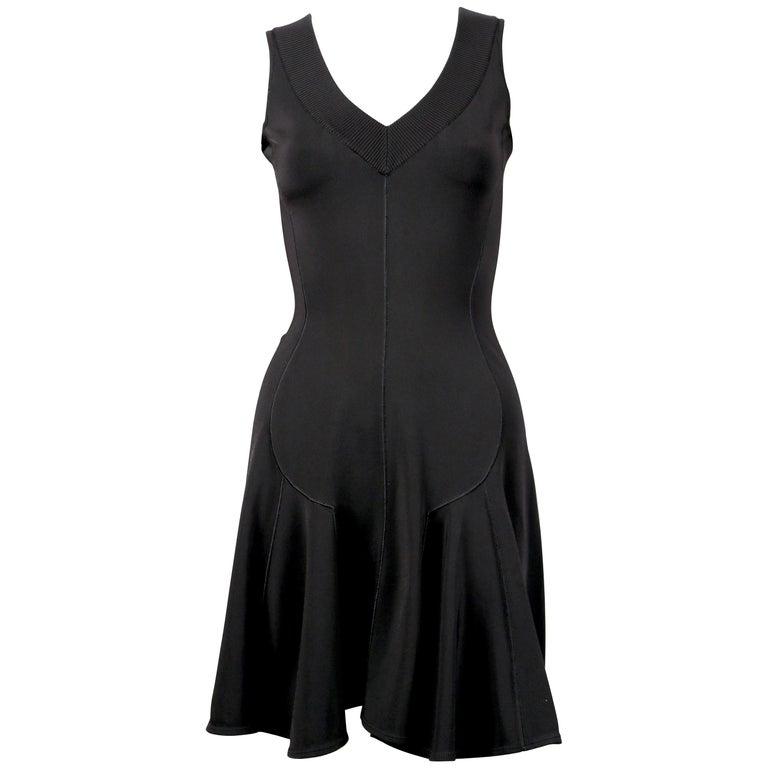 Azzedine Alaia black flared sleeveless dress with V neckline, 1990s