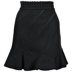 1992 AZZEDINE ALAIA black pointelle knit skirt with spiral seams & flounced hem