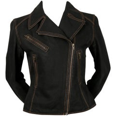 1991 AZZEDINE ALAIA black denim motorcycle jacket with corset back