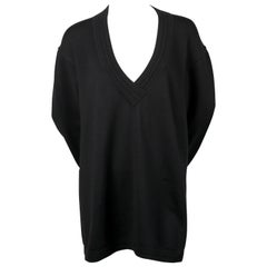 1989 AZZEDINE ALAIA black V-neck tunic sweater
