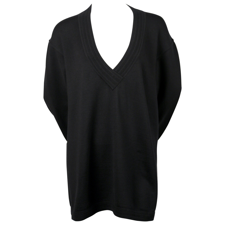 1989 AZZEDINE ALAIA black V-neck tunic sweater