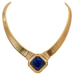 70'S Gold Faux Lapis Lazuli & Cyrstal Rhinestone Necklace By, Christian Dior