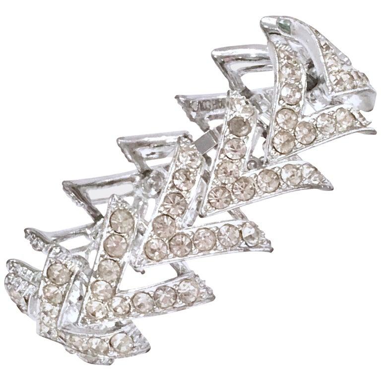 "60'S Silver & Swarovski Crystal ""V"" Link Bracelet By, Coventry For Sale"