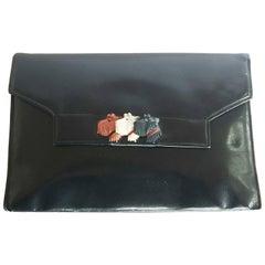 Art Deco French Navy blue handbag clutch with Scotties Scotch Terriers