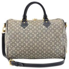 Louis Vuitton Speedy Bandouliere 30 Navy Idylle Monogram Mini Hand Bag + Strap